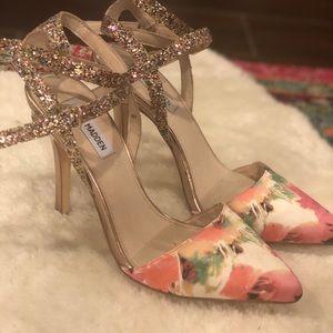 Steve Madden floral ankle strap heels